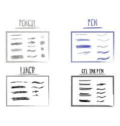 Set of Hand Drawn Doodle Sketchy Grunge Gel Ink vector image