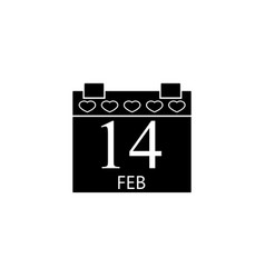 valentines calendar solid icon valentines day vector image vector image
