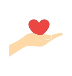 A hand giving a red heart flat icon vector image