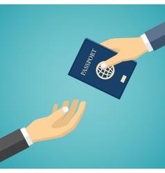 Businessman Receiving Passport vector image