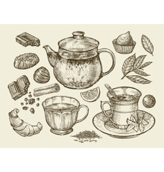 Drinks and food Hand drawn tea coffee teapot vector image