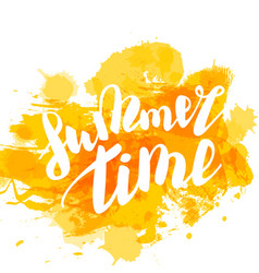 hello summer yellow colored hand lettering vector image