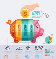 Money saving monthly report infographics template vector