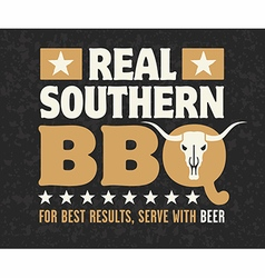 Real Southern Barbecue Emblem vector image vector image
