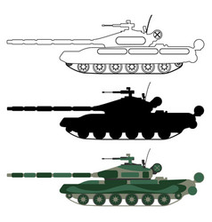 tank silhouette cartoon outline military icon vector image