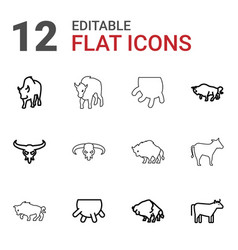 12 cattle icons vector image