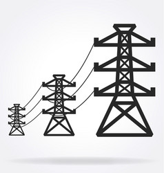 3 power transmission towers in series vector