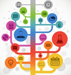 Abstract color media tree with modern icons vector