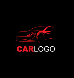 abstract modern car logo line art red on black vector image