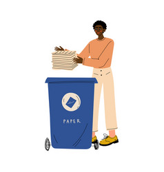 african american man throwing paper waste into vector image