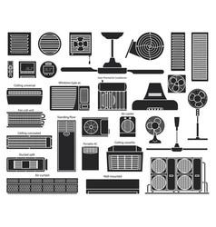 Air ventilator black set icon vector