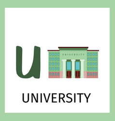 Alphabet card with university building vector