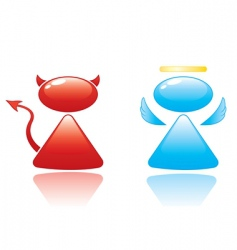 Angel and devil icons vector