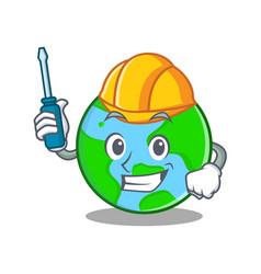Automotive world globe character cartoon vector
