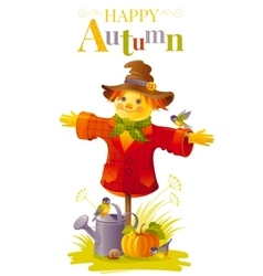 Autumn scarecrow on white vector