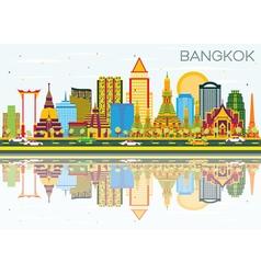 Bangkok Skyline with Color Landmarks vector image