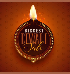 big diwali sale beautiful diya template vector image