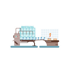bottling of milk conveyor line production of milk vector image