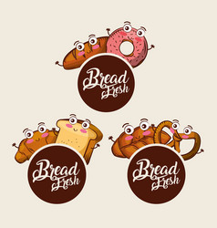 bread fresh kawaii set food croissant donut vector image