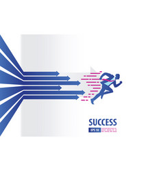 business arrows concept with businessman running vector image