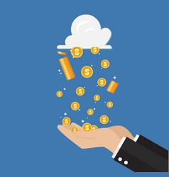 businessman hand receiving money rain from cloud vector image