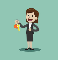 businesswoman hand buying a house realtors hand vector image