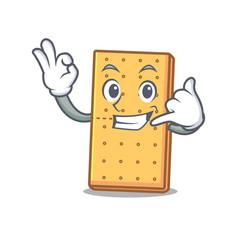 Call me graham cookies mascot cartoon vector