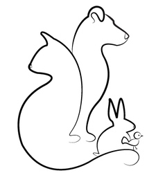 Cat dog rabbit and bird silhouettes logo vector