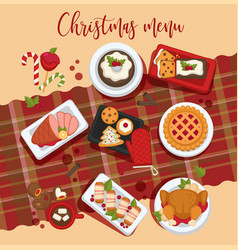 christmas delicious traditional food on a table vector image