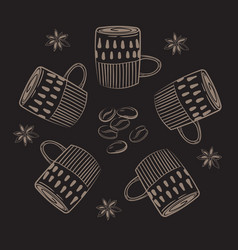coffee cups circle concept vector image