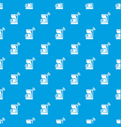 coffee maker pattern seamless blue vector image