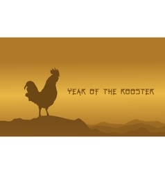Collection of Chinese rooster on desert vector