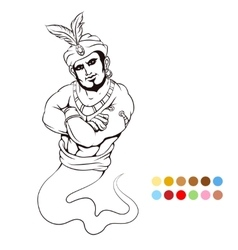 Coloring page with genie vector image
