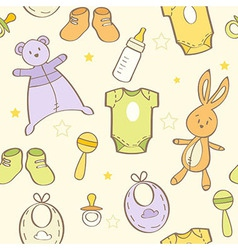 Cute hand drawn baby background vector
