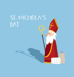 Cute old man st nicholas with mitre white beard vector