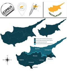 Cyprus map with named divisions vector image