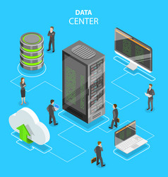 Data center flat isometric concept vector