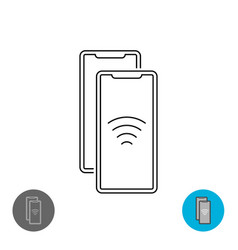 data transfer between two smartphones via nfc or vector image