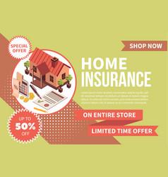 Domestic insurance advertising banner vector