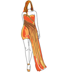 drawn woman in orange evening dress vector image
