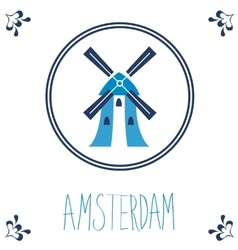 Dutch blue tile with windmill vector image
