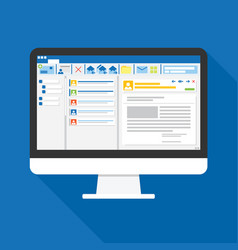 email client software on computer screen flat vector image