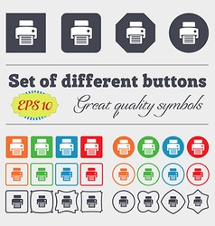 Fax printer icon sign Big set of colorful diverse vector