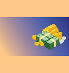 Financial money cash management with stack of vector