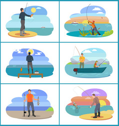 fishing set of people at beach vector image