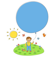 flat boy child standing with air balloons vector image