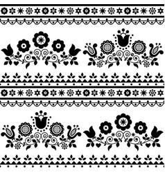 Floral folk art seamless textile pattern vector