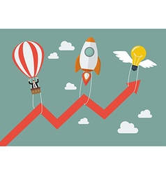 Flying lightbulb Rocket and Balloon pull graph up vector image