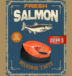 Fresh salmon Salmon steak in retro vector