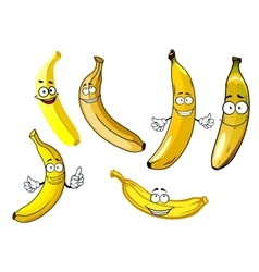 Funny cartoon yellow banana fruits vector